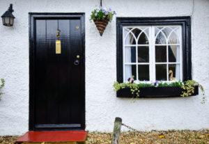 Black cottage door