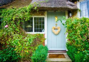 Blue house front door